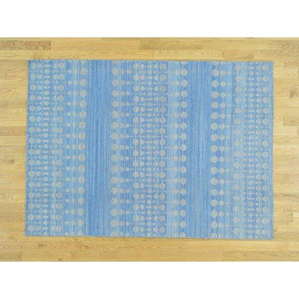 One-of-a-Kind Bertita Denim Reversible Handmade Kilim Blue Wool Area Rug by Isabelline