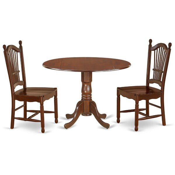 Roxane 3 Piece Drop Leaf Solid Wood Dining Set by Alcott Hill Alcott Hill