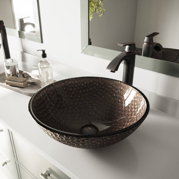 Tempered Glass Circular Vessel Bathroom Sink by VI