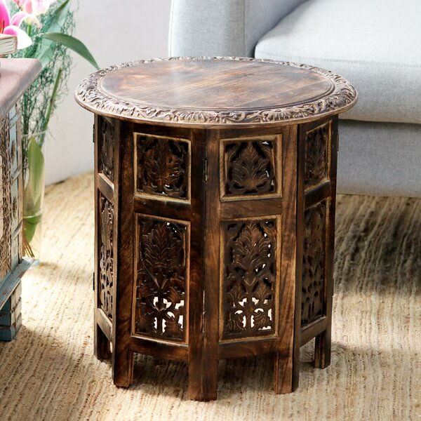 Kashmir Valley Wood End Table by World Menagerie World Menagerie
