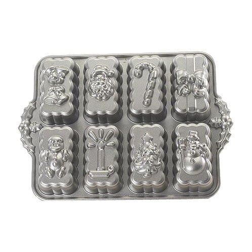 Platinum Holiday Mini Loaves Cake Pan by Nordic Ware
