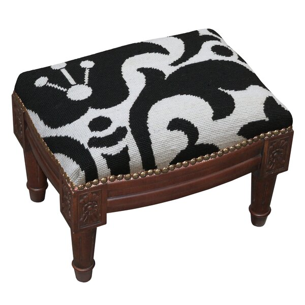 Damask Wool Needlepoint Upholstered Ottoman by 123 Creations