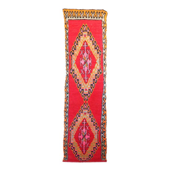 Moroccan Vintage Boujad Hand Knotted Wool Red/Orange Area Rug by Indigo&Lavender