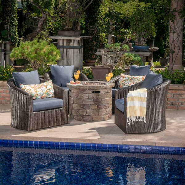 Paxson 5 Piece Rattan with Cushions by Red Barrel Studio