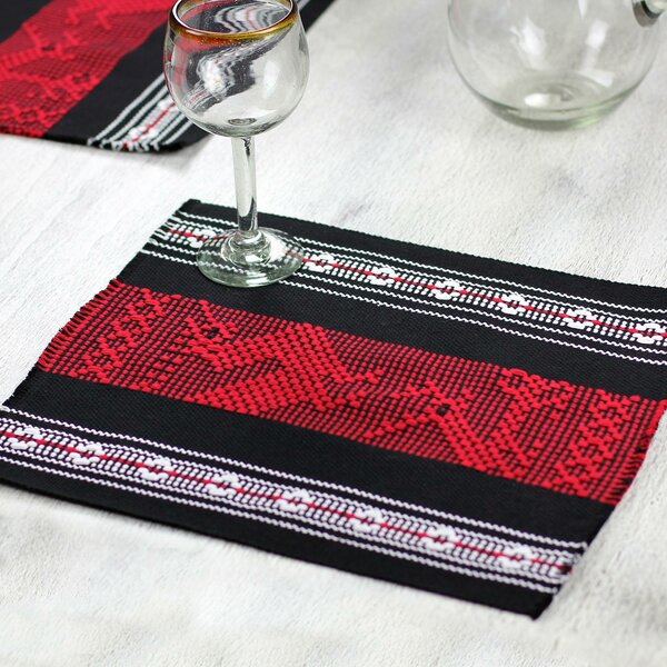 Scarlet Myths Cotton Silk Hand Woven Placemat (Set of 4) by Novica