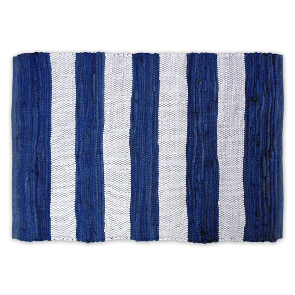 Harpersfield Stripe Rag Hand-Knotted Blue Area Rug by Longshore Tides
