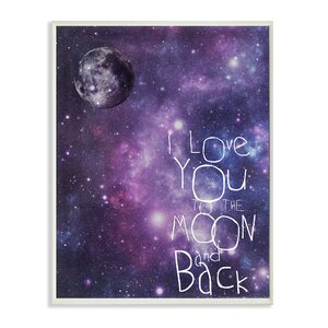 'I Love You to the Moon and Back Outer Space' Textual Art Wall Plaque by Viv + Rae