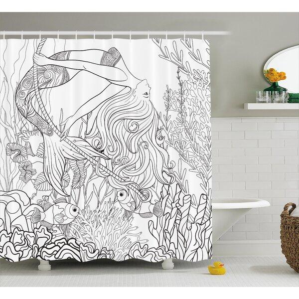 Mackenzie Surreal Little Mermaid Shower Curtain by Zoomie Kids