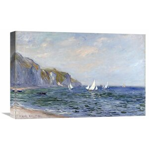 'Cliffs and Sailboats at Pourville' by Claude Monet Painting Print on Wrapped Canvas by Global Gallery