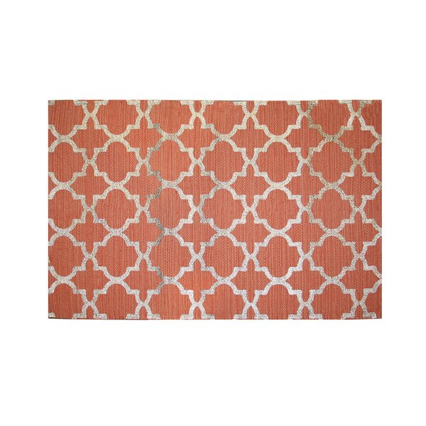 Foil Print Hand-Woven Coral Area Rug by Ess Ess Exports