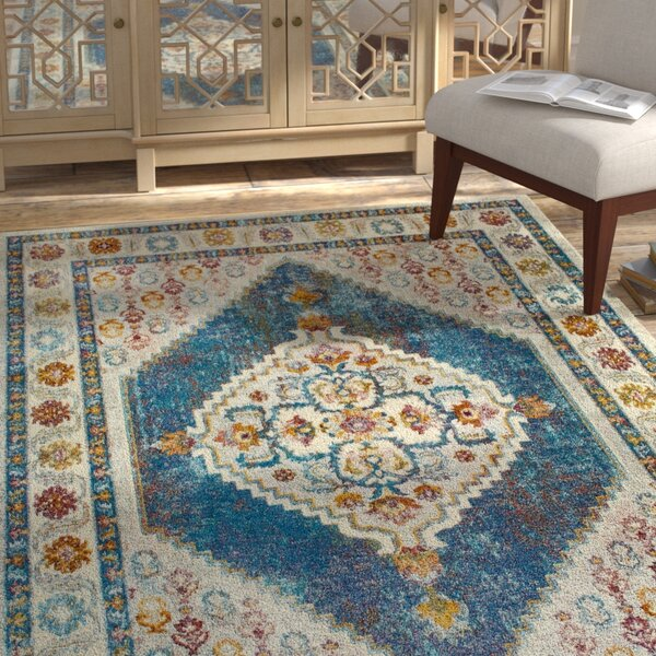 Helms Blue/Ivory Area Rug by Bungalow Rose