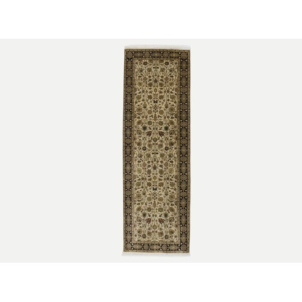 Runner Amell Oriental Hand-Knotted Wool Beige Area Rug