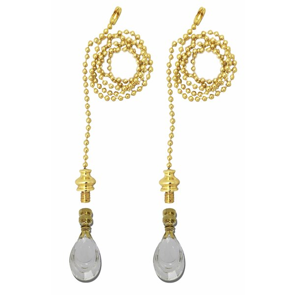 Fan Pull Chain with Flat Teardrop-Shaped Crystal Finial (Set of 2) by Royal Designs