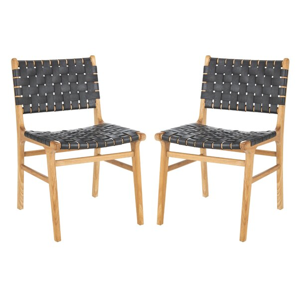 Greta Woven Leather Upholstered Dining Chair (Set of 2) by Foundry Select
