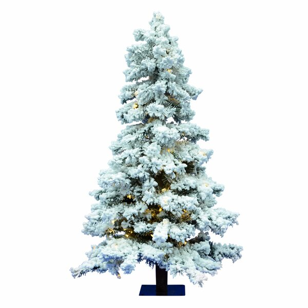 47f8cc9f5b35 Flocked 7 Spruce Artificial Christmas Tree With 886 Pvc Tips And 400 Warm  White Dura-