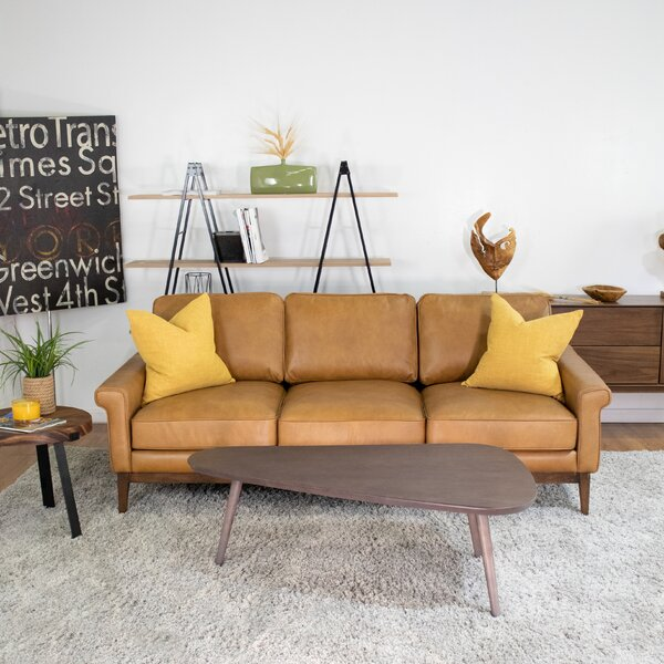 Vandenberg Leather 82-inch Rolled Arms Sofa by Foundry Select Foundry Select