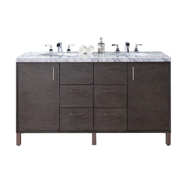 Cordie Modern 60 Double Silver Oak Granite Top Bathroom Vanity Set by Orren Ellis