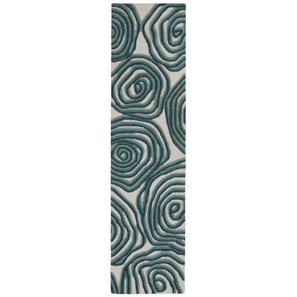 Nancee Block Print Hand-Tufted Green/Beige Area Rug by Highland Dunes