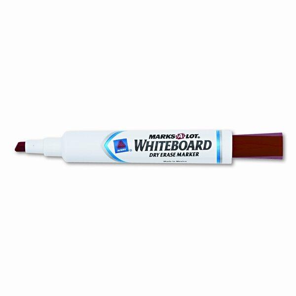 Desk Style Dry Erase Marker, Chisel Tip, Red, 12 b