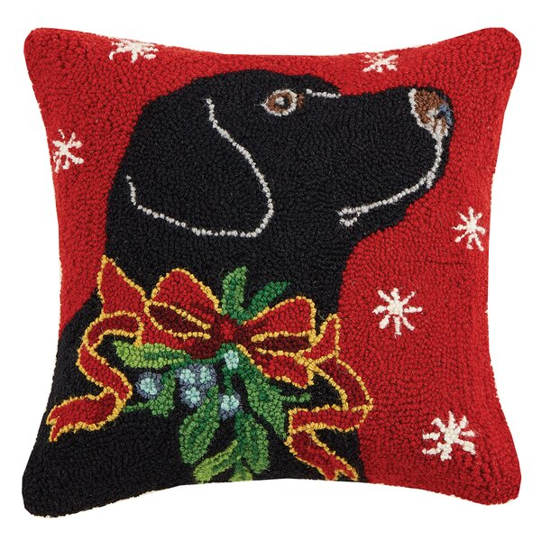 Horse/Polar Bear and Black Lab Holiday Hook Wool Throw Pillow by Suzanne Nicoll Studio