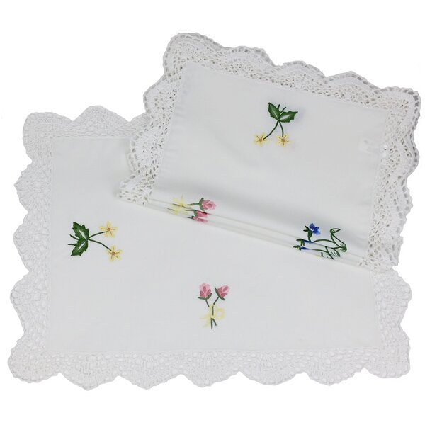Handmade Crochet with Embroidery Flowers Placemat (Set of 4) by Xia Home Fashions
