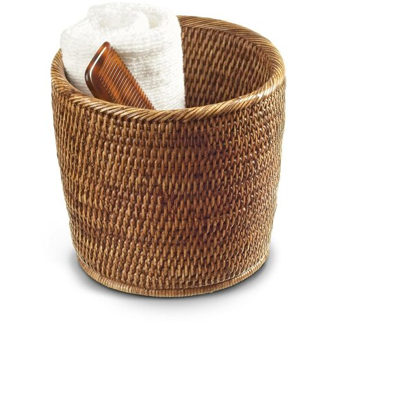 Efren Round Small Countertop Vanity Rattan Open Waste Basket by Mistana