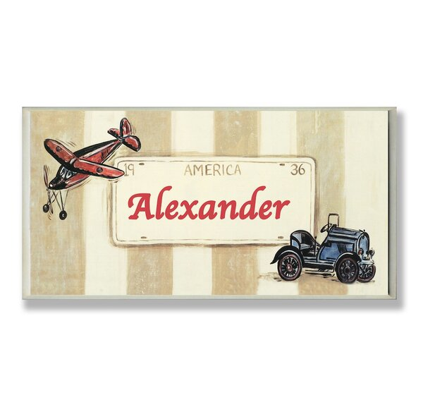 Kids Room Personalization Plane/Car Boys Name Wall Plaque by Stupell Industries