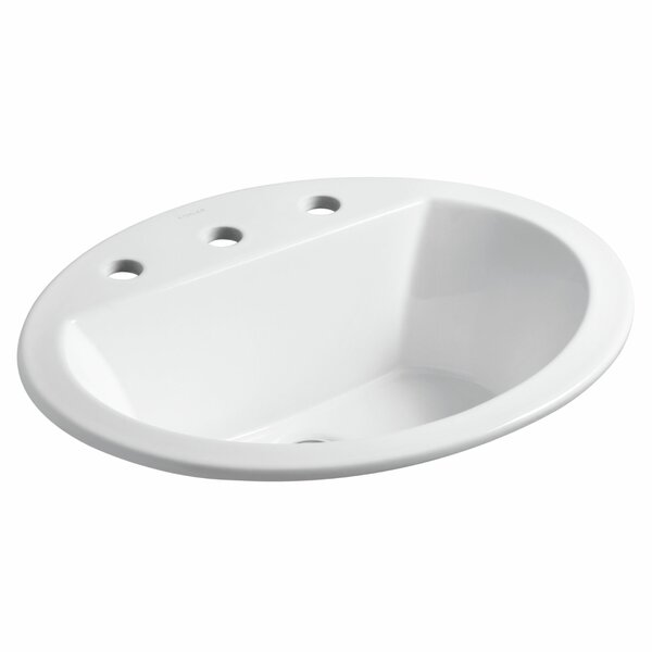 Bryant Ceramic Oval Drop-In Bathroom Sink with Overflow by Kohler