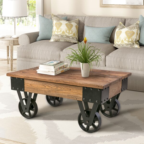 Deon Wheel Coffee Table By Williston Forge