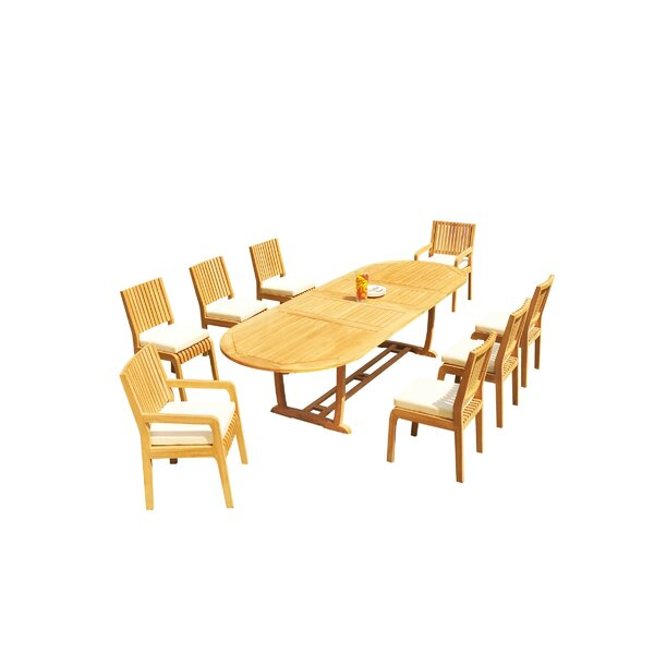 Maskell 9 Piece Teak Dining Set By Rosecliff Heights by Rosecliff Heights New