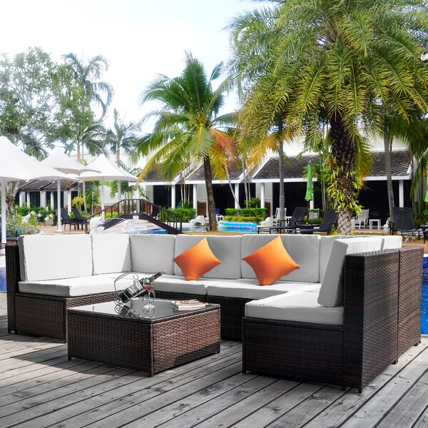 Buff 7 Piece Rattan Sectional Seating Group with Cushions by Latitude Run