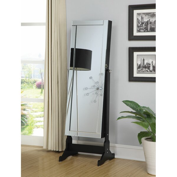 Guthrie Accent Swivel Interior Storage Cheval Jewelry Armoire with Mirror by Alcott Hill Alcott Hill