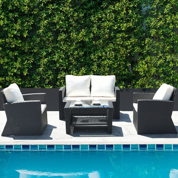 Oelwein Patio 4 Piece Rattan Sofa Seating Group with Cushions by Latitude Run