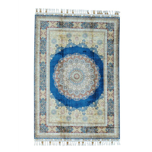 One-of-a-Kind Dillion Medallion Silken Oriental Hand-Knotted Silk Blue Area Rug by World Menagerie