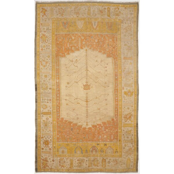 Lazarus Luxury Hand-Knotted Wool Beige/Salmon Area Rug