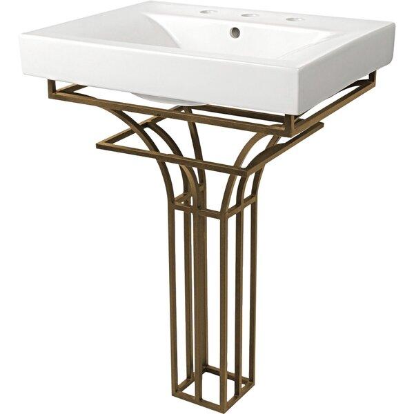 Iron Virtus Ceramic Rectangular Pedestal Bathroom Sink