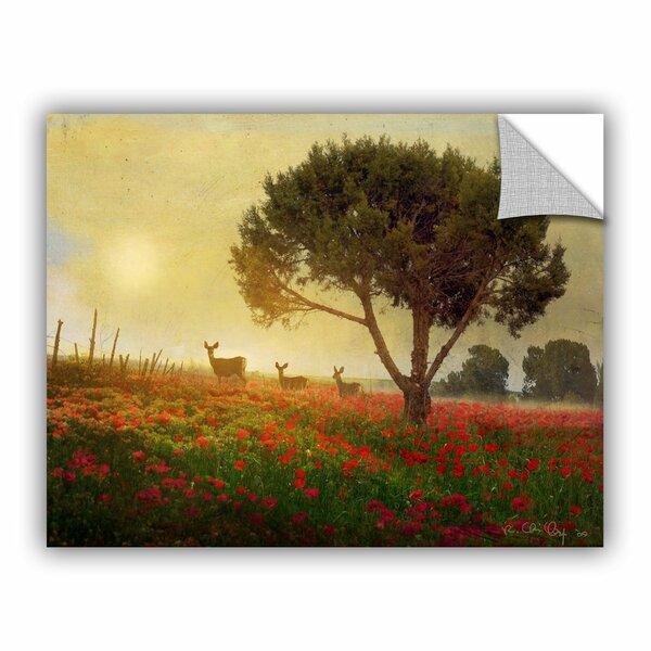 Tree Poppies Deer by Chris Vest Wall Mural by ArtWall