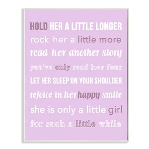 Hold Her A Little Longer Purple Textual Art by Stupell Industries