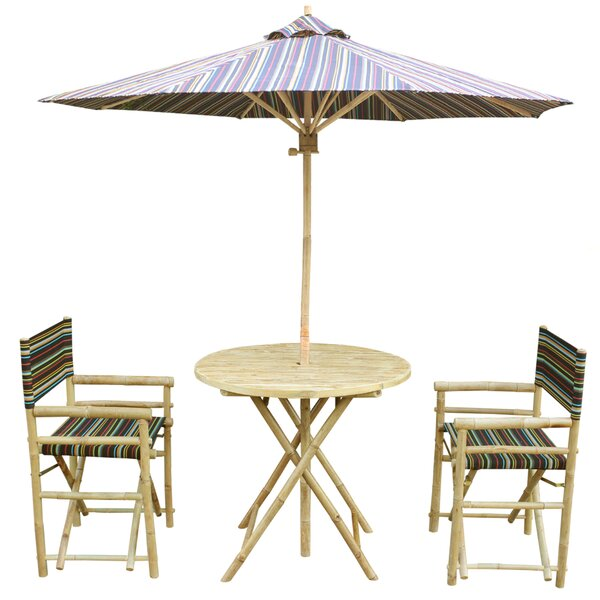 Keyes Bamboo 3 Piece Bistro Set with Umbrella by Bloomsbury Market