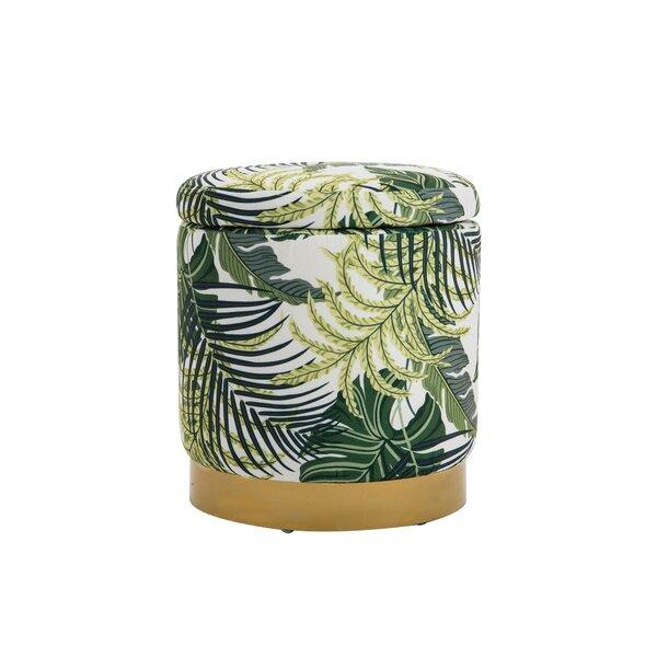 Fogg 15.4'' Velvet Round Floral Storage Ottoman by Mercer41 Mercer41