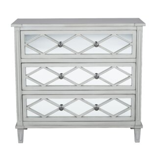 Lawler Mirrored Pinewood 3 Drawer Chest