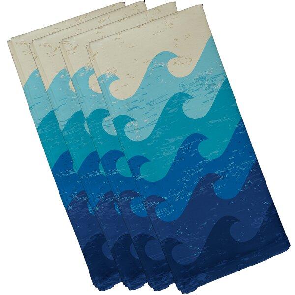Golden Beach Deep Sea Geometric Napkin (Set of 4) by Bay Isle Home