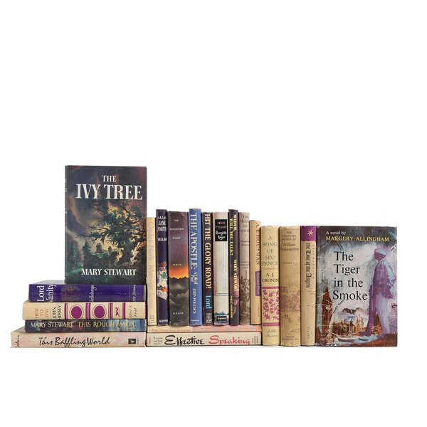 Authentic Decorative Books - Custom Set Midcentury Dustjacket Book Collection In Berry & Flax, Set of 20 by Booth & Williams