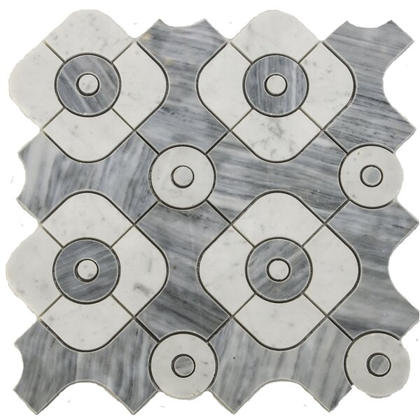 Water Jet Serene Random Sized Marble Mosaic Tile in White/Gray by Matrix Stone USA