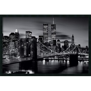 Brooklyn Bridge - Black and White Framed Photographic Print by Latitude Run