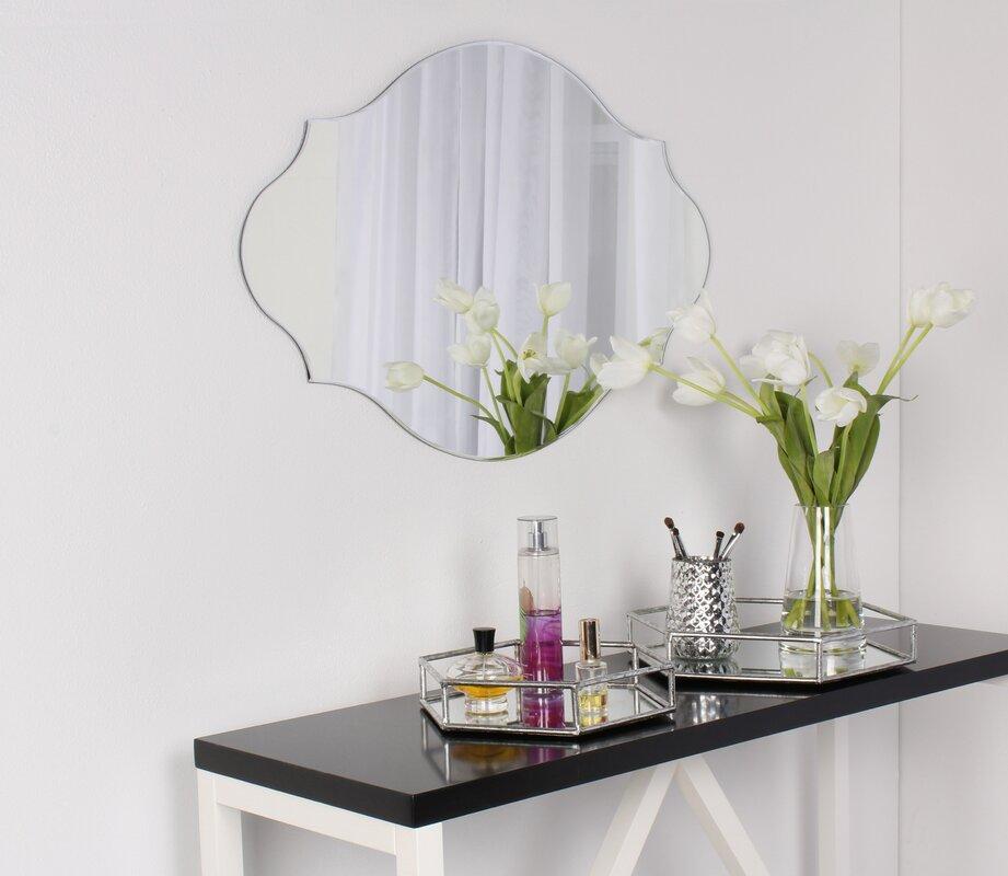 Dsov Reign Frameless Oval Scalloped Beveled Wall Mirror