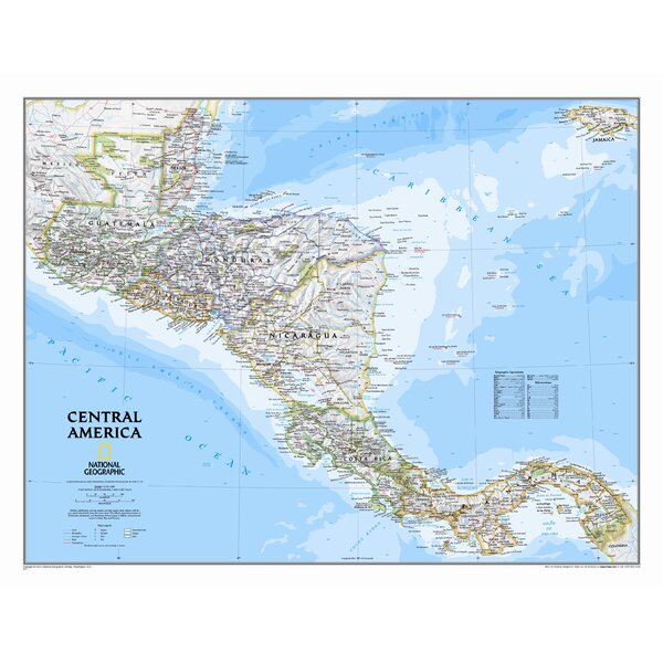 Central America Classic Wall Map by National Geographic Maps