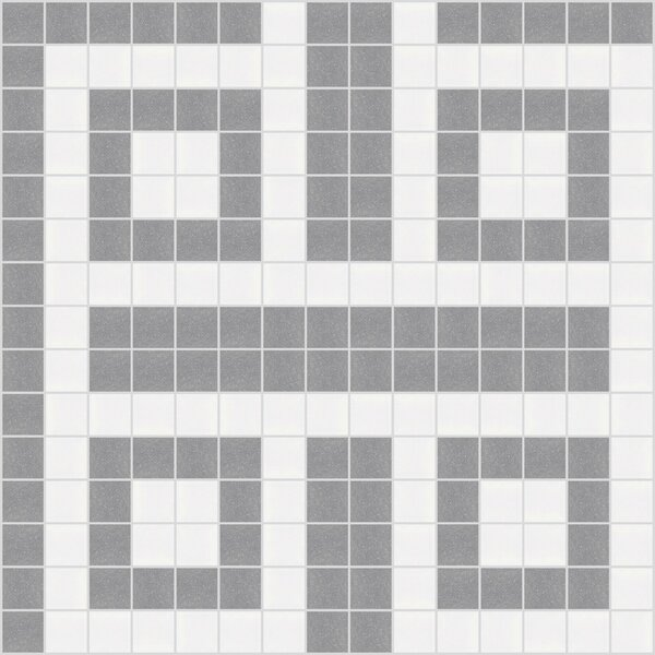 Urban Essentials Square Lattice 3/4 x 3/4 Glass Glossy Mosaic in Calm Grey by Mosaic Loft