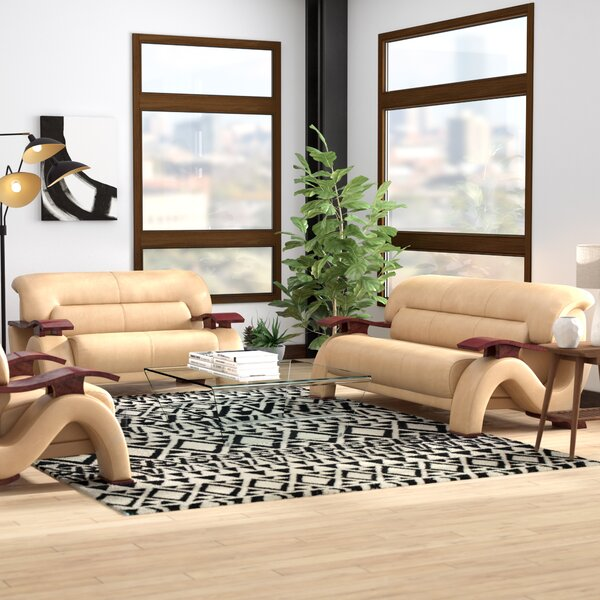 Belgr Leather 3 Piece Living Room Set by Orren Ellis