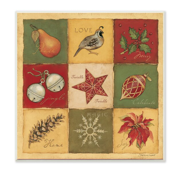 9 Patch Christmas Quilt Graphic Art Print by Stupell Industries